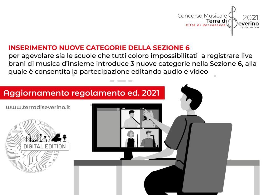 NUOVE CATEGORIE DELLA SEZIONE 6: è consentita la partecipazione editando audio e video